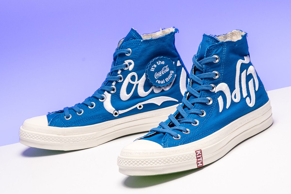 3a881336f71 ... Kith x Coca-Cola x Converse collaboration was this tasty Friends &  Family colorway, featuring a blue canvas upper and the soft drink's logo in  Hebrew. ...
