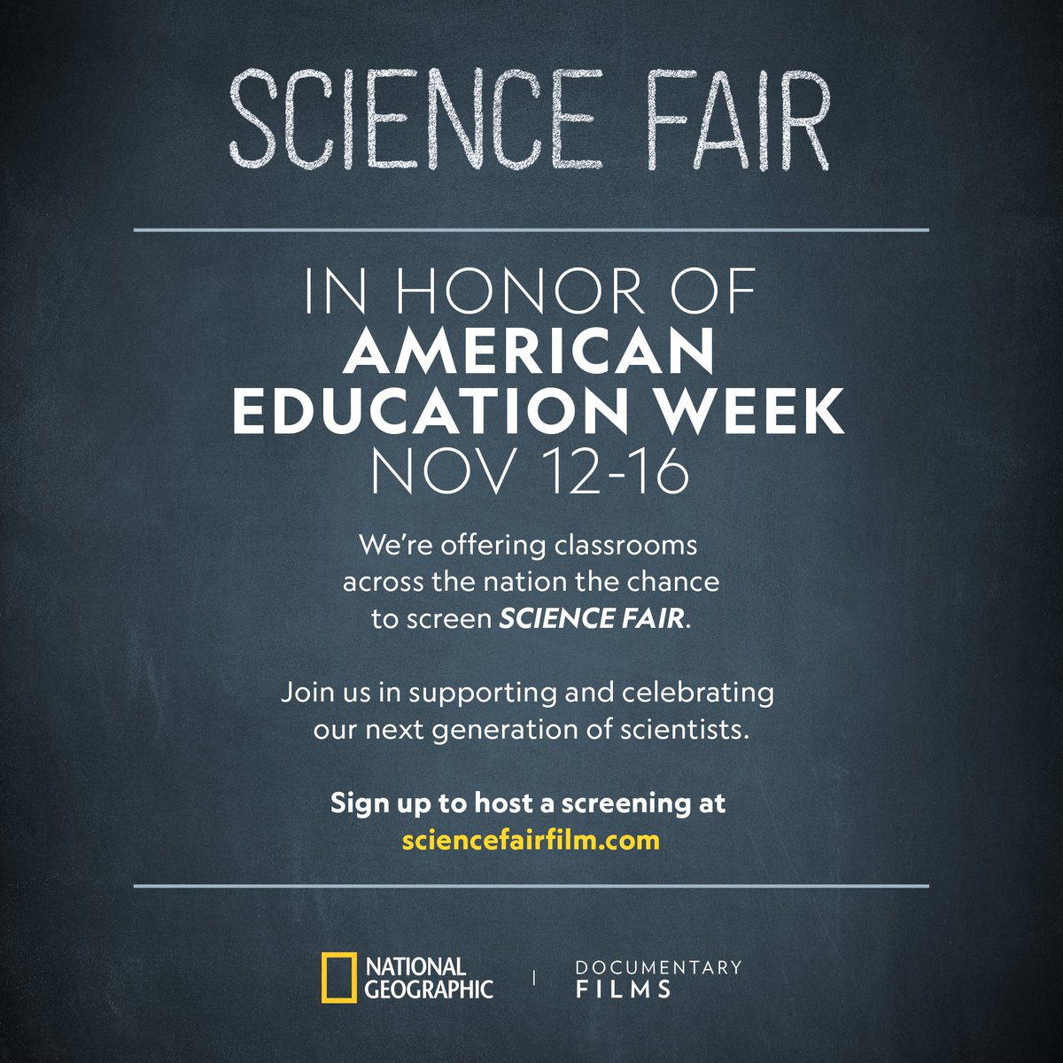 In honor of #AmericanEducationWeek, we're inviting teachers & students nationwide to watch the inspiring documentary  Fai@sciencer this November! Fill out this form to receive free DVDs & educational materials: .https://t.co/0gXmyNIu8S