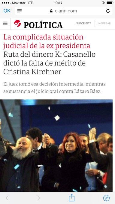 Es complicada la situación Judicial de la ex presidenta por qué Casanello dicta la falta de mérito por ser inocente? No entiendo Clarin!! Y si lo titulas de nuevo. Foto