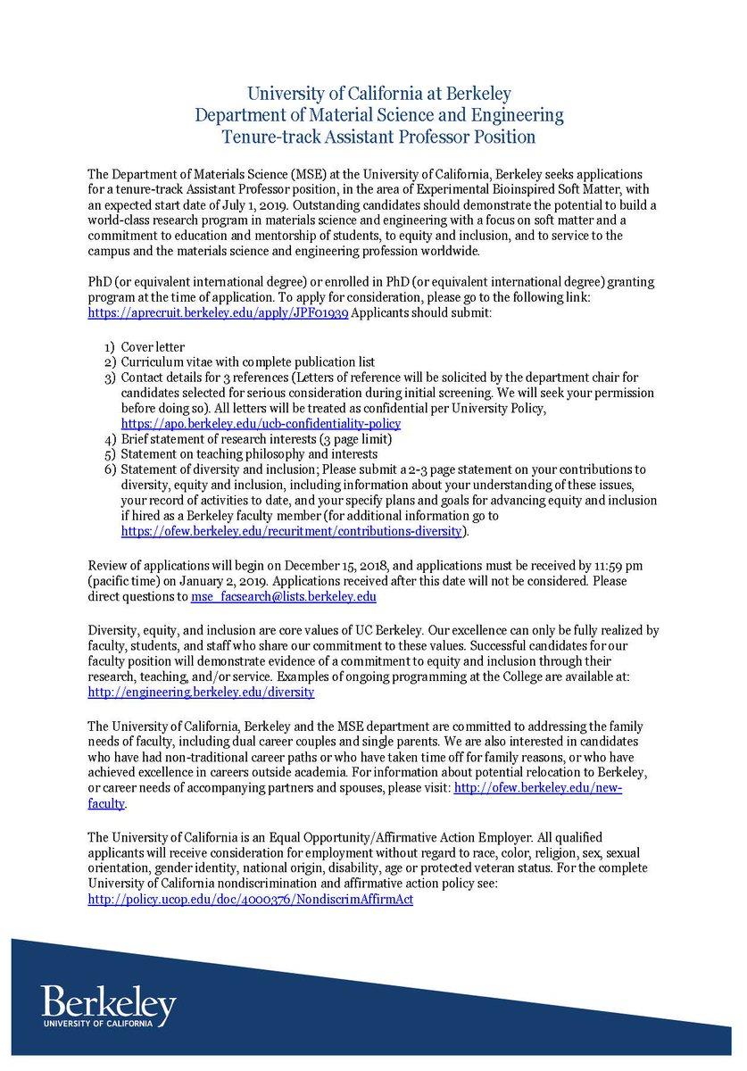 Berkeley MSE Auf Twitter Assistant Professor Position Open