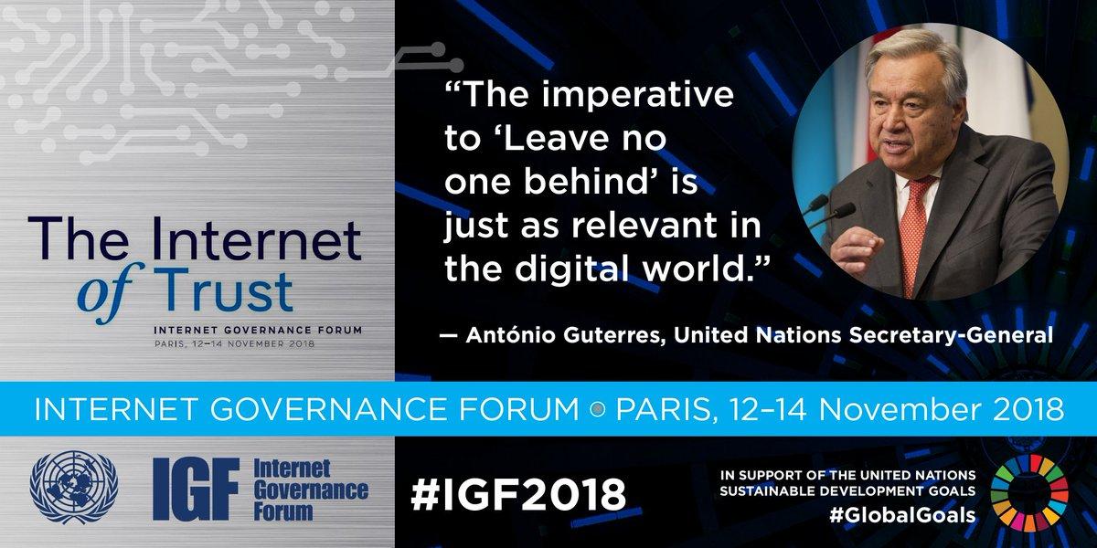 Starts on Monday in Paris @UNESCO: Internet Governance Forum with @antonioguterres & more (through 14 Nov). Details: intgovforum.org #IGF2018