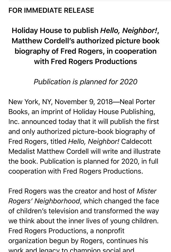 Matthew Cordell On Twitter I M Honored And Thrilled To Report That I Ll Be Writing And Illustrating A Picture Book Biography Of Personal Hero Mister Rogers With Nealporterbooks And Holidayhousebks In 2020 In
