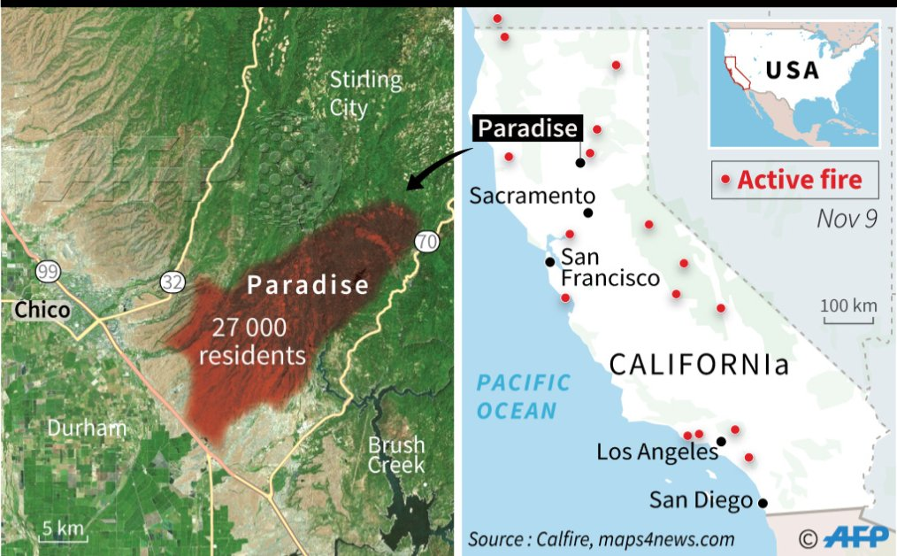 Paradise California Map.Afp News Agency On Twitter Afp Graphic Shows Map Of California S