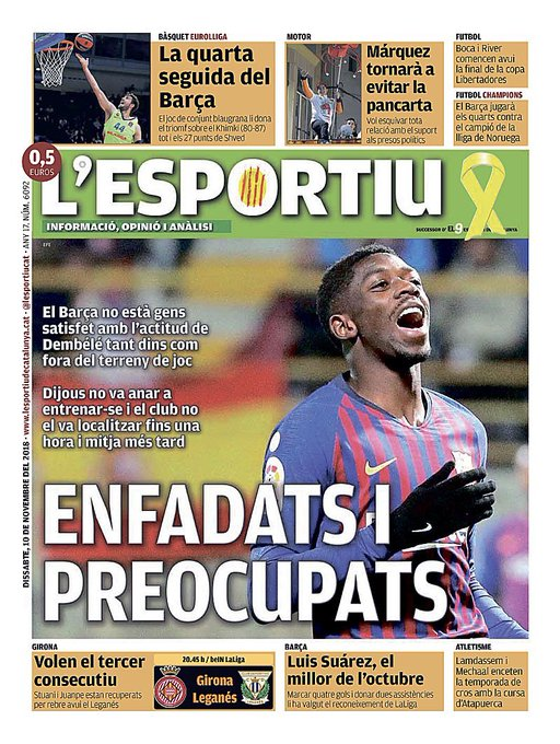 📰 [L'Esportiu] | Pissed and worried 🔶 Barça isn't satisfied at all with Dembele's attitude inside and outside the pitch. 🔷 Thursday he didn't appear at the training session and the club could not locate him until one hour and a half later. Foto