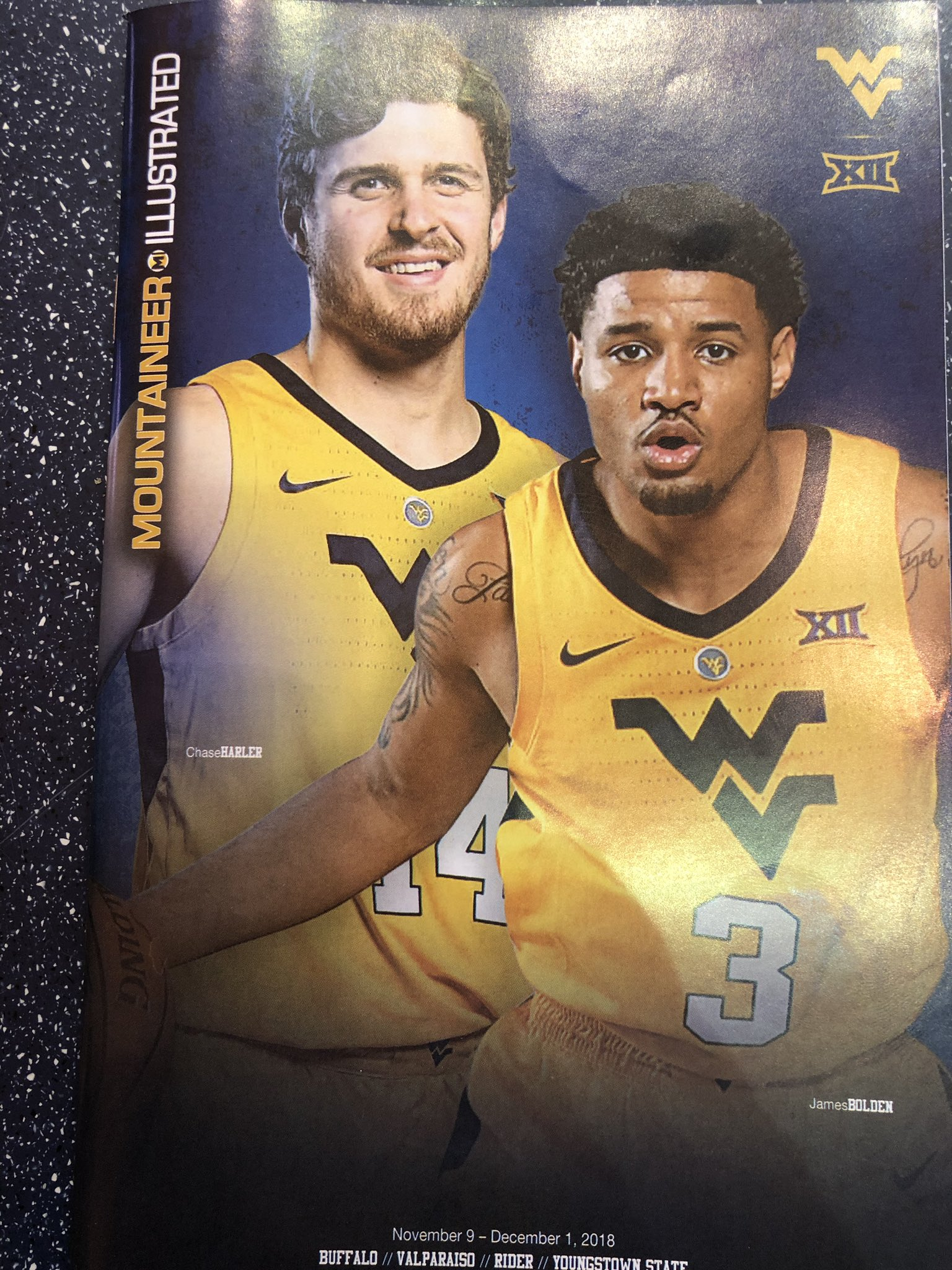 Chase Harler West Virginia Basketball Jersey - Yellow