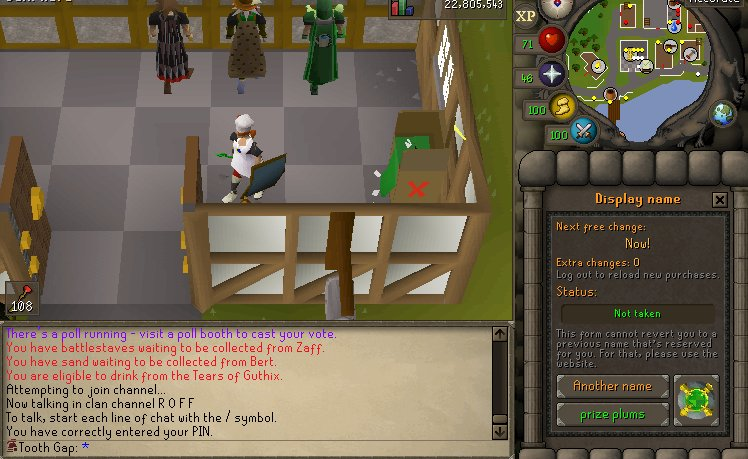 After alching my rangers, I have now changed my name for a month... Tooth Gap will return twitch.tv/knightenator