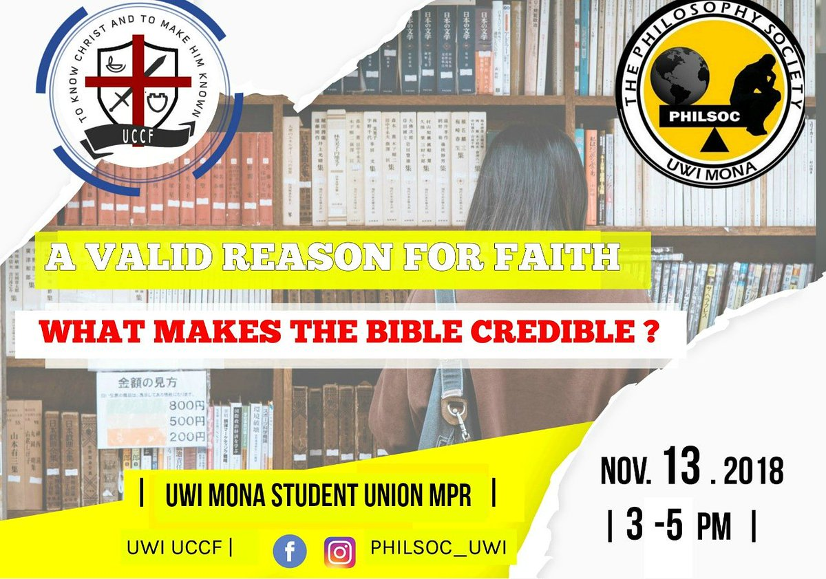 Uwi uccf in association with the philosophy society presents &quot;Is the  Christian faith valid ?&quot;  come out Tuesday November 13 @ 3-5  and find out !<br>http://pic.twitter.com/ZKi1wRr7LH