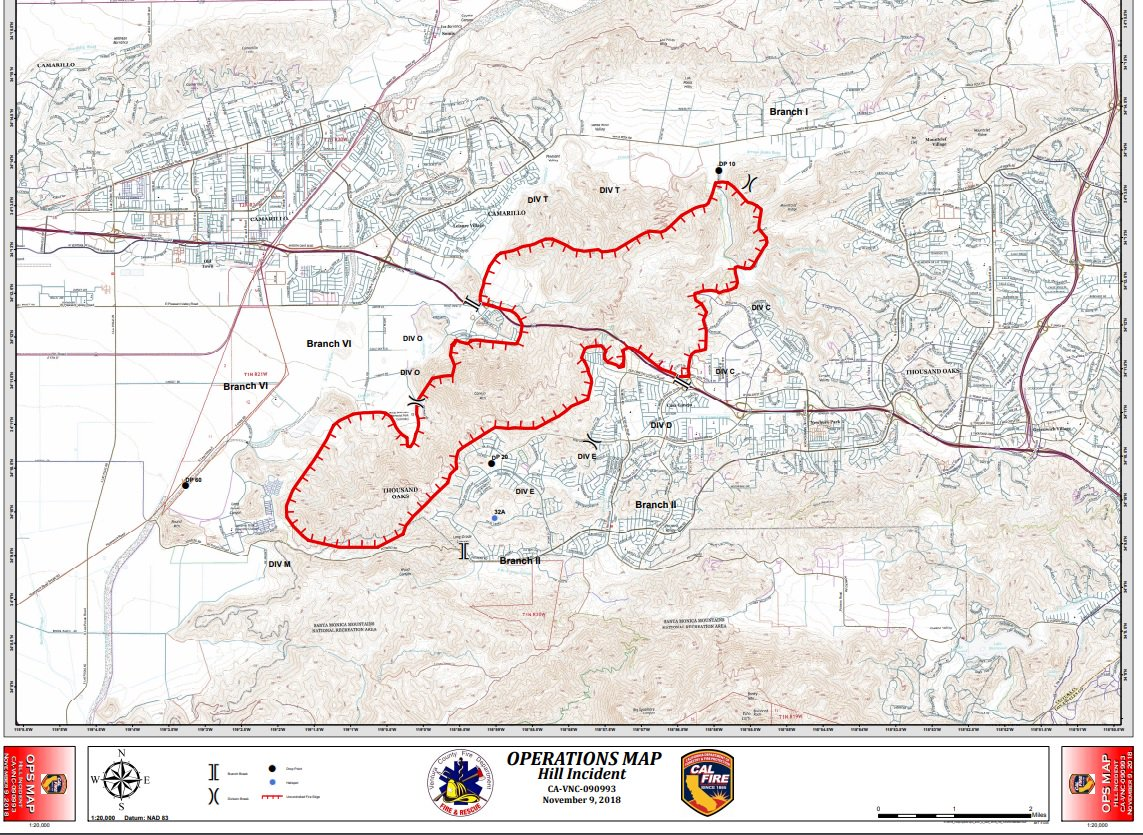 Hill Fire California Map.Vcfd Pio On Twitter The 11 09 18 Pm Operations Map From The