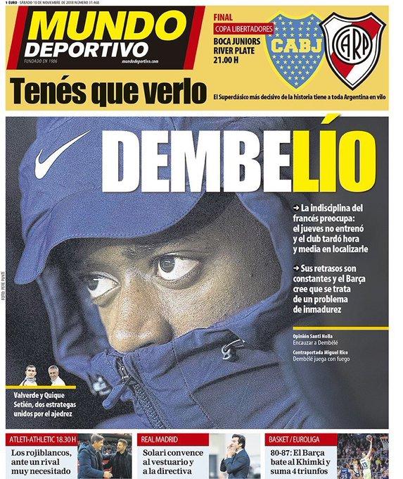 MD 10/11/18 «Problème Dembélé» ➡️ L'indiscipline du français préoccupe: il ne s'est pas entraîné ce jeudi et le club l'a localisé après 1h30 ➡️ Ses retards son constants et le Barça pense que c'est un problème lié au manque de maturité du joueur Foto