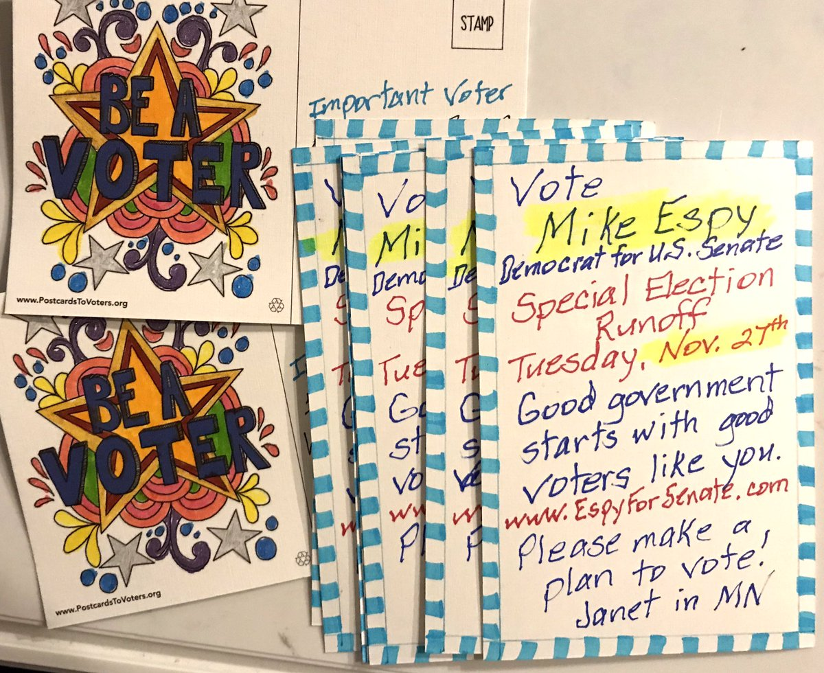 10 cards brightening mailboxes across Mississippi to get voters to the polls for Mike Espy. Mike is running for U.S. Senate. Can you help write?  Email join@TonyTheDemocrat.org help us get a seat in the Senate #postcardsToVoters #MS #EspyForSenate #BeAVoter <br>http://pic.twitter.com/fRv3qqu5i3