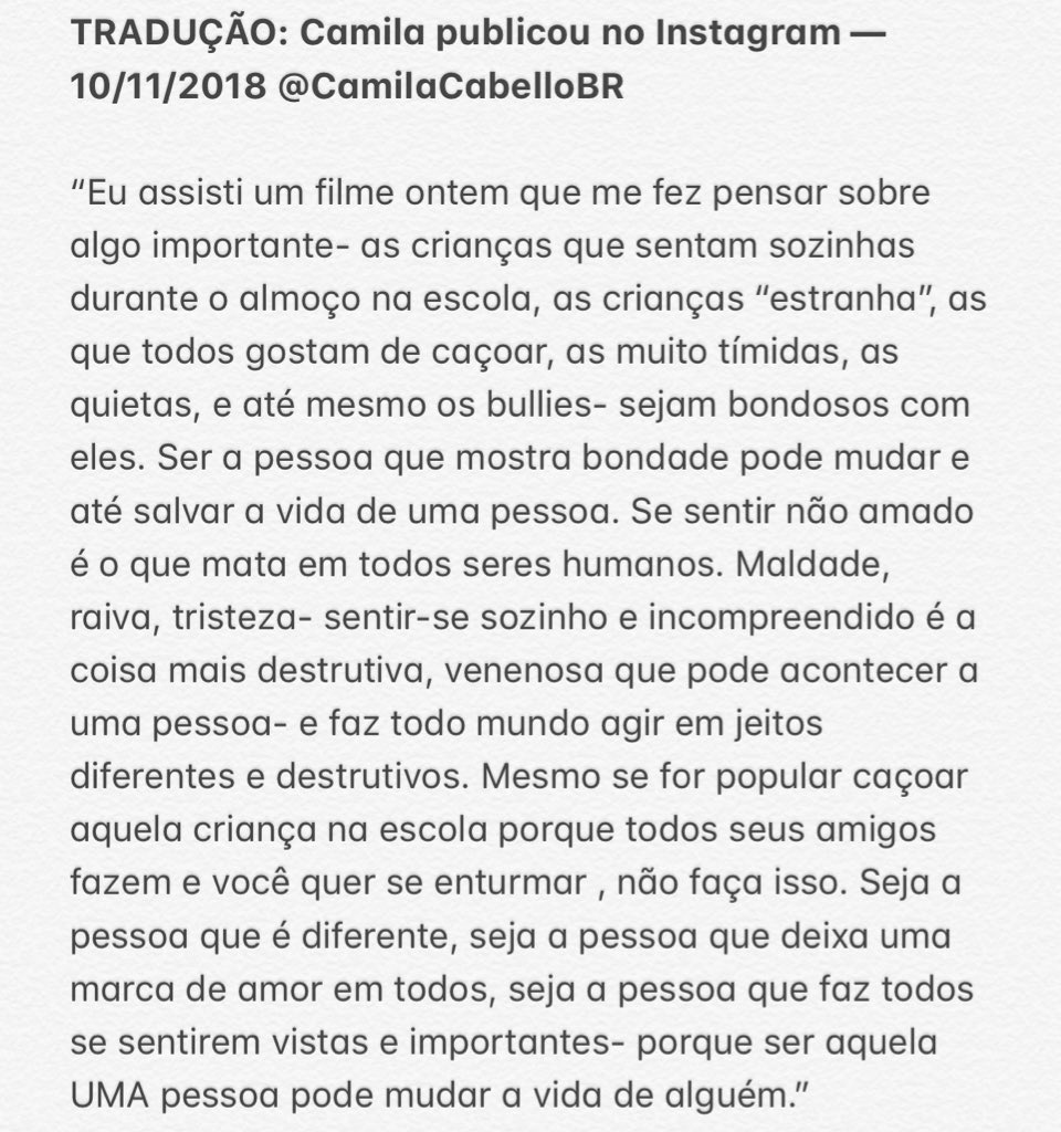 """Em publicação nas redes sociais, Camila Cabello encoraja pessoas a serem gentis: """"Pode mudar a vida de alguém"""""""