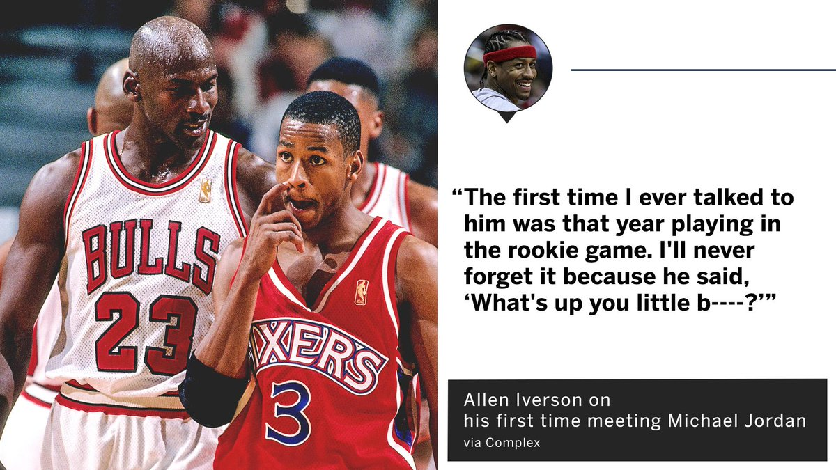 Allen Iverson calls Michael Jordan one of his heroes.  He remembers the first thing Jordan ever said to him 😅