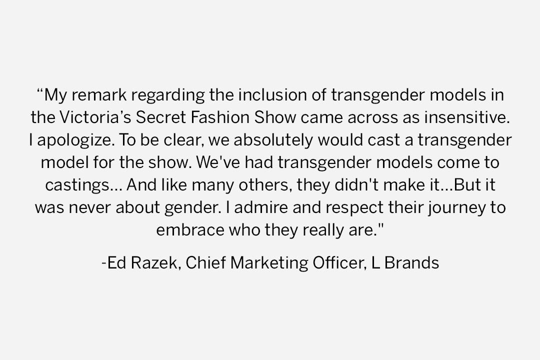 Please read this important message from Ed Razek, Chief Marketing Officer, L Brands (parent company of Victoria's Secret).