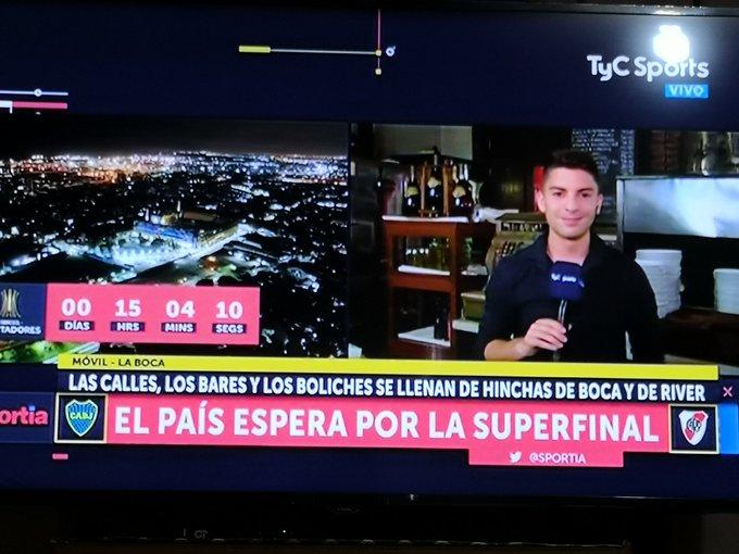 Como para estar en Argentina. Los medios de comunicación haciendo una previa toda la Nadie #BocavsRiver Foto