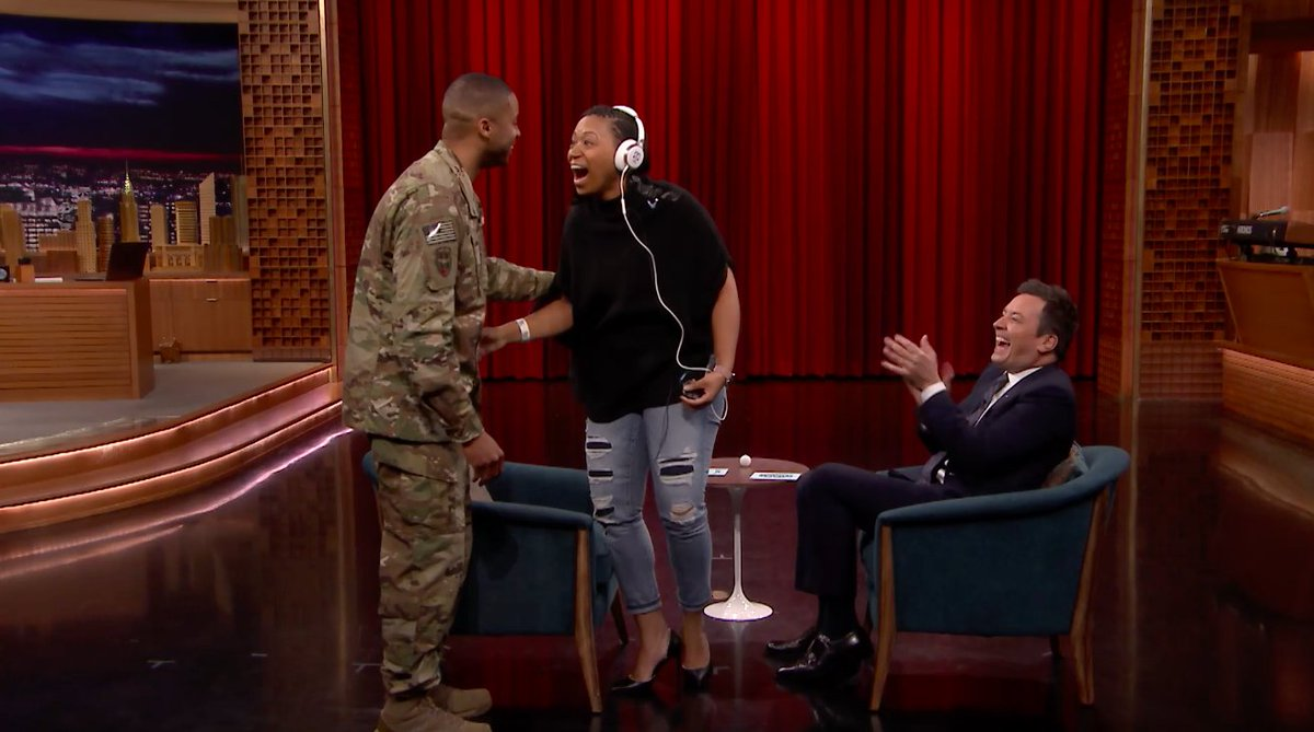 Jimmy Fallon partners with @TMobile and uses a game of Whisper Challenge to reunite a military veteran with her active-duty husband #FallonTonight