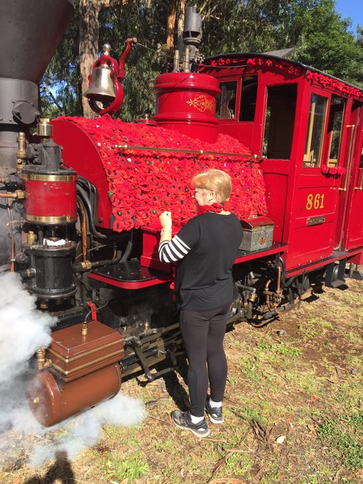 """A unique role for a Victorian icon for the centenary of the end of WW1. """"Puffing Billy""""covered in knitted poppies will be the centrepiece of Remembrance Day commemorations in Emerald. Details 6pm #7NewsMelb Photo"""
