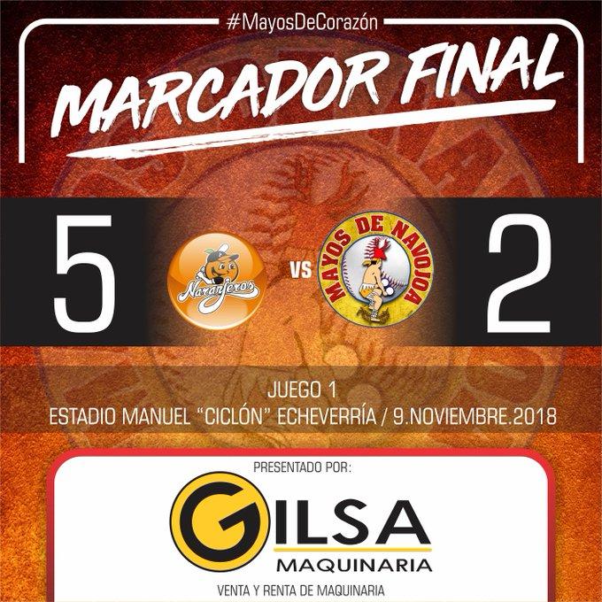 Gilsa Maquinaria le presenta el marcador final del primero de la serie. Mañana en punto de la 7:30 pm Mayos manda a Rudy Acosta a la loma Foto