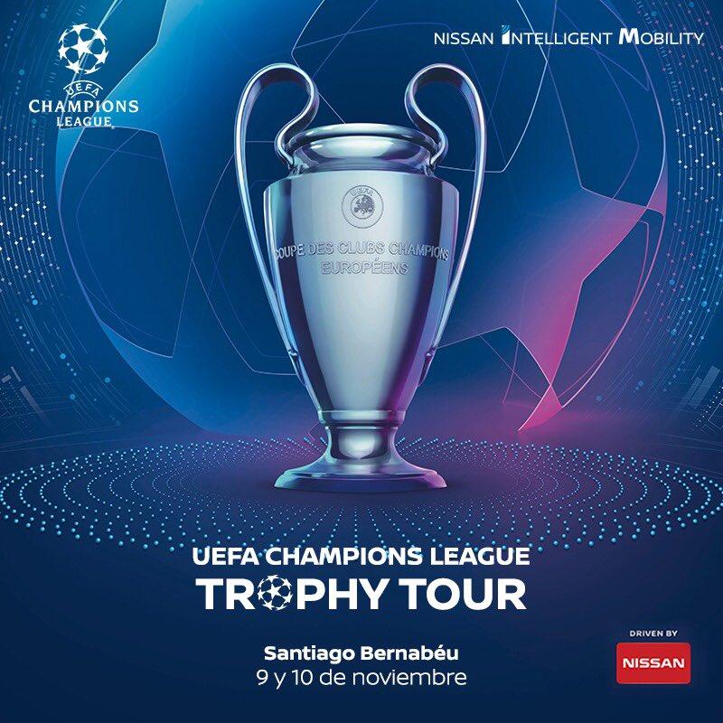 Último día para que veas el trofeo de la champions, estará en la explanada del Santiago Bernabéu. TIENES HASTA LAS 7! 💪🏽⚽️  Puedes conseguir unas entradas gracias a @Nissan_ESP  para ver el Real Madrid -CSKA 🎟   Info aquí: http://bit.ly/TrophyTourNissan… 🤩