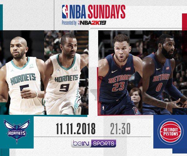 #NBASundays ......... 👉⌚️ Les frenchies @TonyParker & @Nicolas88Batum se rendent à Detroit pour y affronter les Pistons ! 🏀 | @HornetsFR vs. @DetPistonsFR ⏰ | Dimanche, 21H30 📺 | @beINSPORTS_FR
