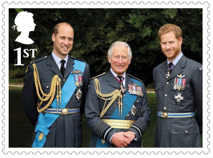 Honoured that my official portrait of the Duke of Sussex, Prince of Wales and Duke of Cambridge is featured on this stamp commemorating the Prince of Wales 70th Birthday - I took this ahead of the #RAF100 Commemorations at Buckingham Palace this summer 📸@royalairforceuk Photo