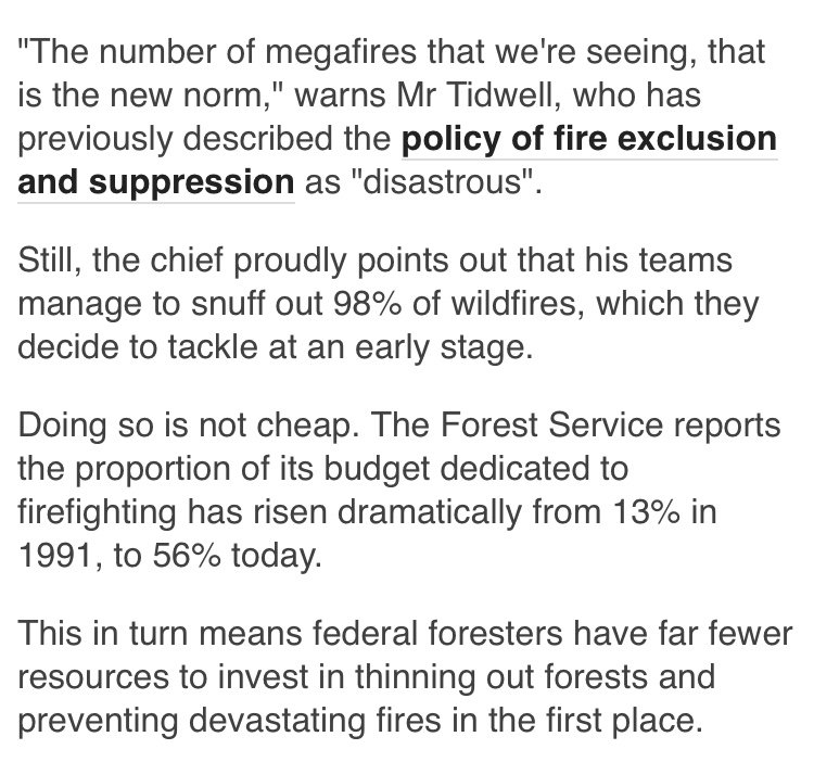 In fact there are many reasons. And one of them, ironically, is a LACK of federal funds for forest management. Here's a piece I wrote about that just after Mr Trump's election. https://t.co/NZm8OfHUP4 https://t.co/IXMdCQvhJM