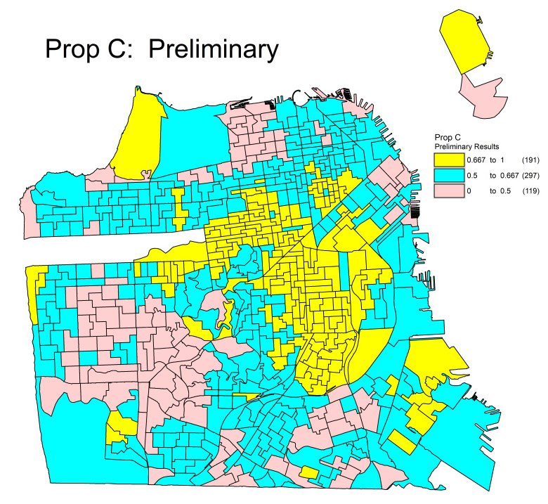 Prop C Preliminary Results Map.
