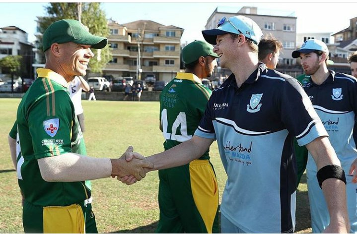 #Davidwarner and #SteveSmith shake hands after a club game today.. <br>http://pic.twitter.com/YILGJa6Ia9