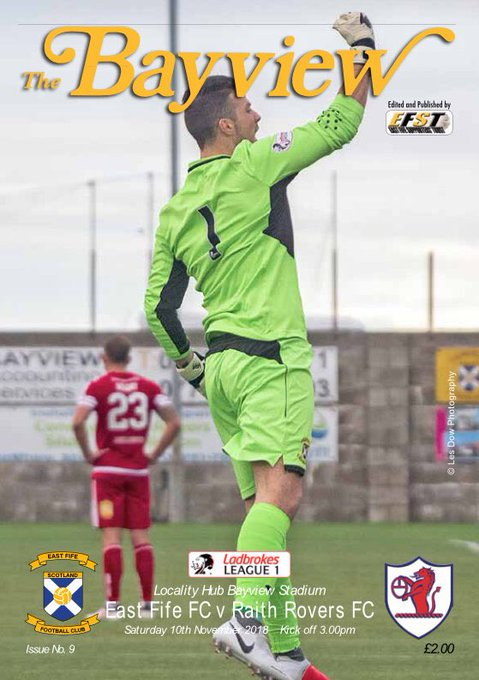 Don't forget to pick up your copy of our match day programme The Bayview at today's game v @RaithRovers. This weeks cover shows Brett Long celebrating our win over Brechin City at the last home game Photo