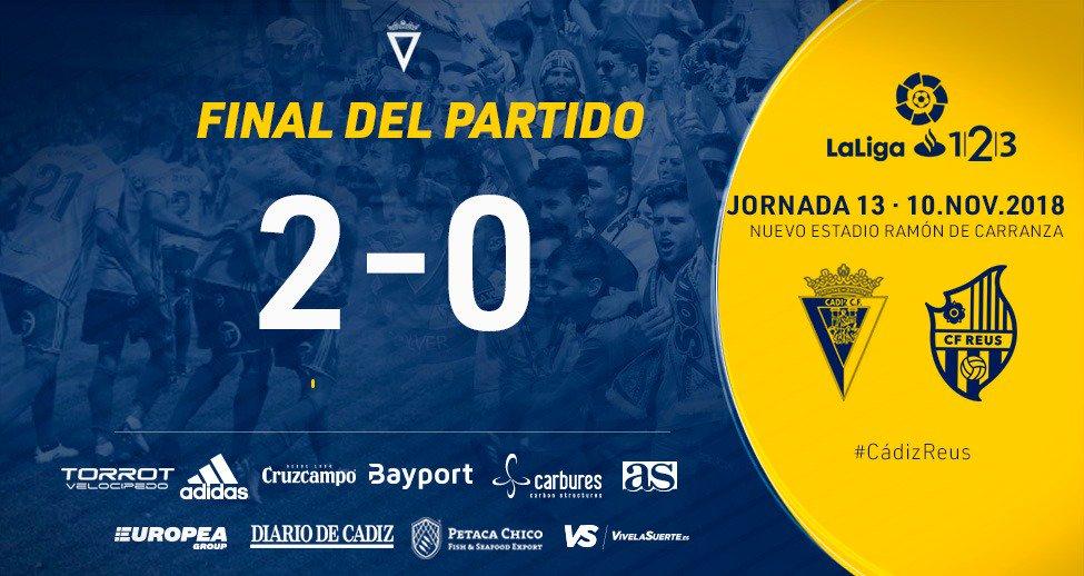 #CádizReus #LaLiga123  2-0 | ¡Final de partido! https://t.co/dnmkW1ArpJ