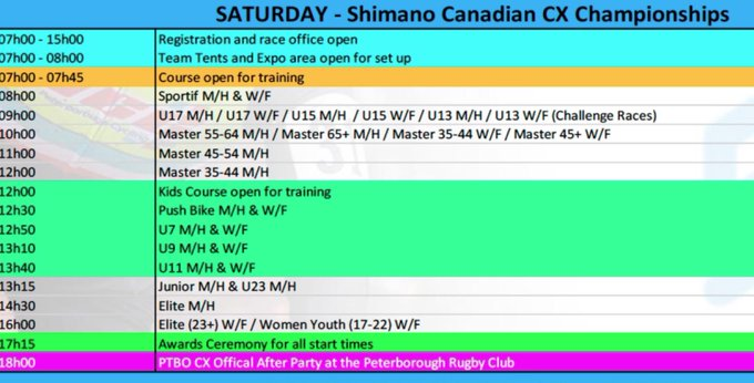 Full schedule for all of today's races #cancxchamps @PtboCX Photo