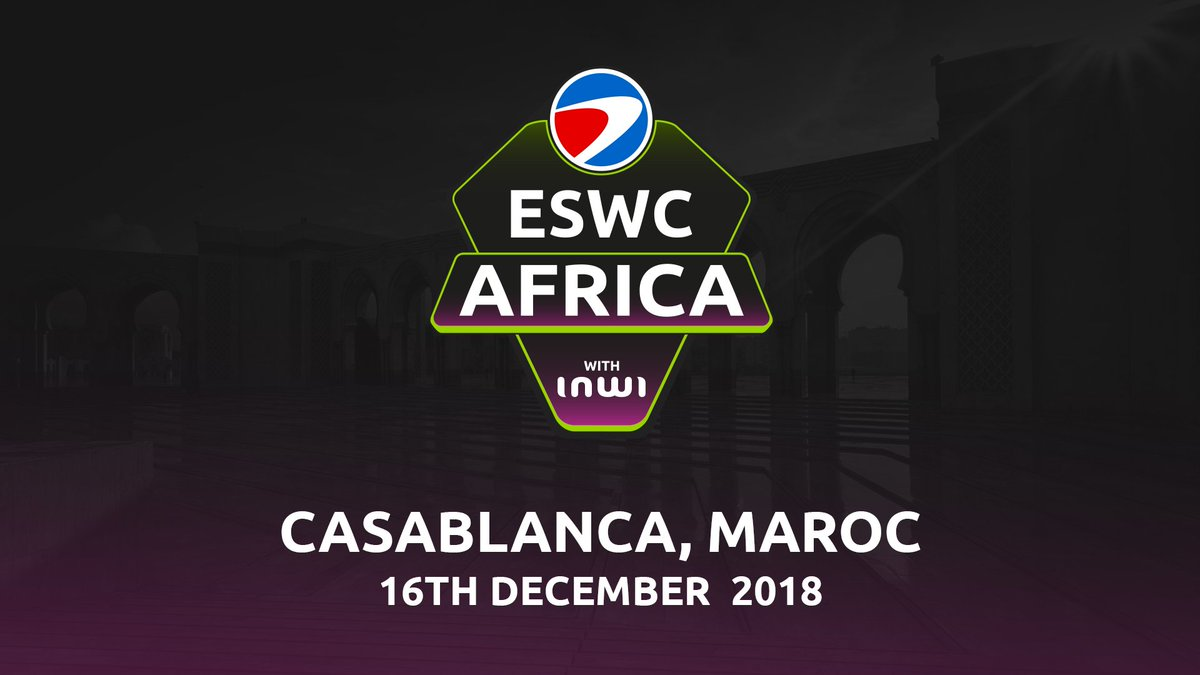 Be ready for the  #ESWCAfrica with @inwi the Esport event of #casablanca on CS:GO 🔥  📅 December 16 🏟️ LeStudio des Arts Vivants 🌍 4 best African teams 🏆 $15,000 of cash prize  All the details about the qualifications are available on https://t.co/CE0ntORTxV