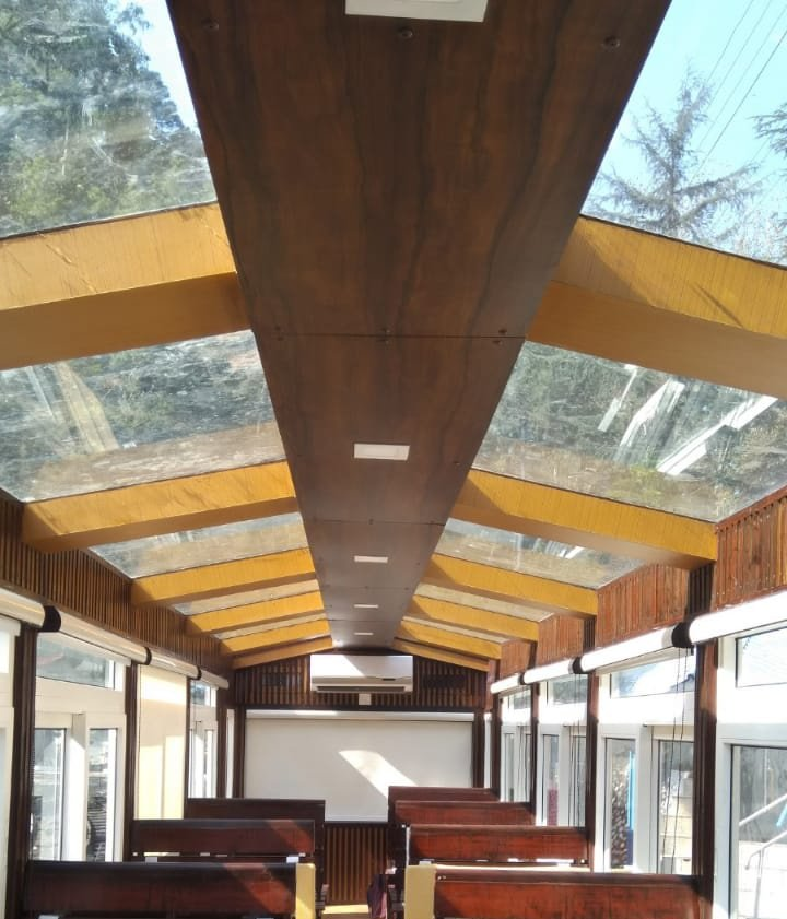 The Kalka - Shimla Rail, equipped with a Vistadome Coach, ran its first trial trip today. Passengers can now soak in the aesthetic landscape with better vision through the glass top ceiling of the newly converted coach.