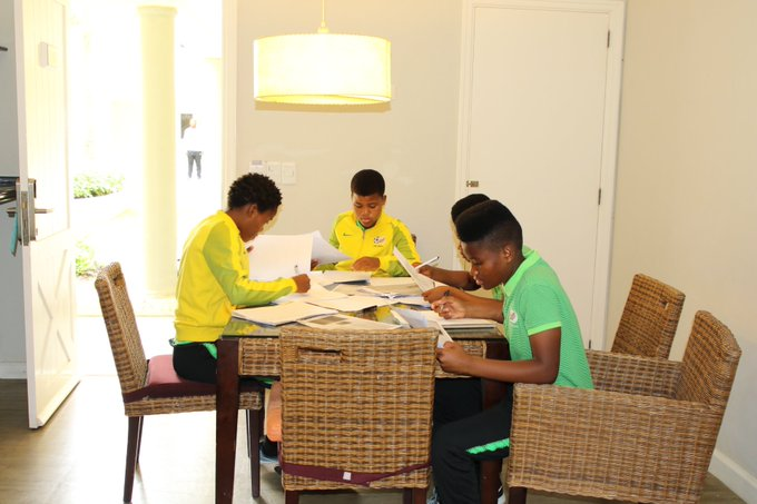 Life of a modern footballer, #Bantwana players writing exams this morning. Serving the country and preparing for life after football at the same time @FIFAWWC #U17WWC Photo