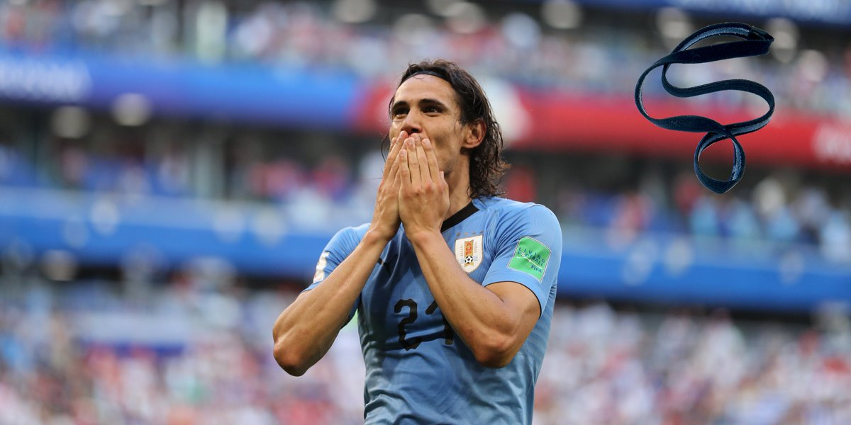 Edinson Cavanis 2018 World Cup was unfortunately cut short due to an injury during #URUPOR 🇺🇾🇵🇹 However, not before he scored the two goals needed to take his country to the final eight 🙌 A hairband @ECavaniOfficial wore during the group stages is now in our collection.