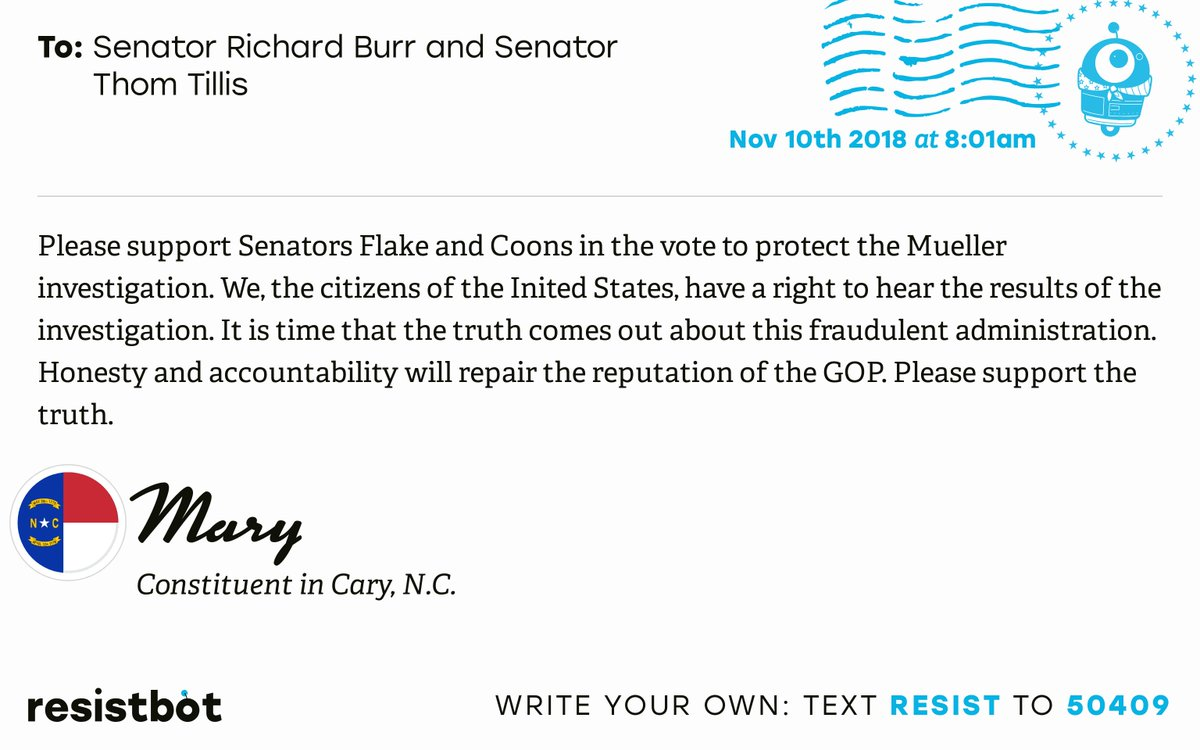 Resistbot Open Letters's photo on #ProtectMueller