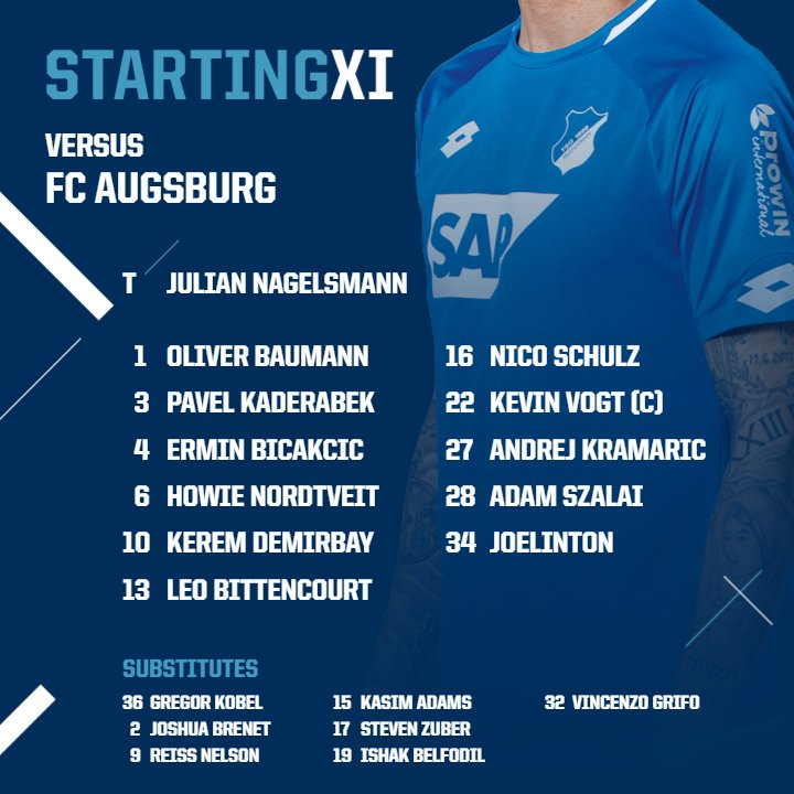 RT @achtzehn99_en: TEAM NEWS 💥  This is how we'll line up against @FCAugsburg!   #TSGFCA https://t.co/AGa6wiFwzo