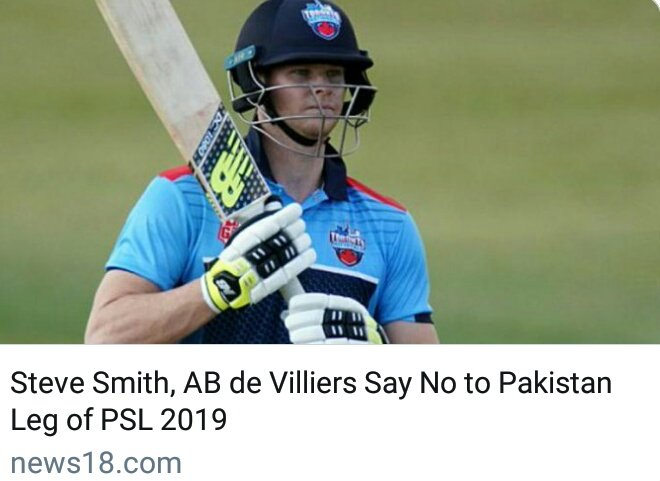 Steve Smith, AB de Villiers And Many Other Players Say No To #Pakistan Leg Of #PSL 2019. They&#39;re Ready To Play Only The First Leg Which Is In UAE.  Life Is More Important Than Money.   #PSL2019<br>http://pic.twitter.com/K5uPlkfshg