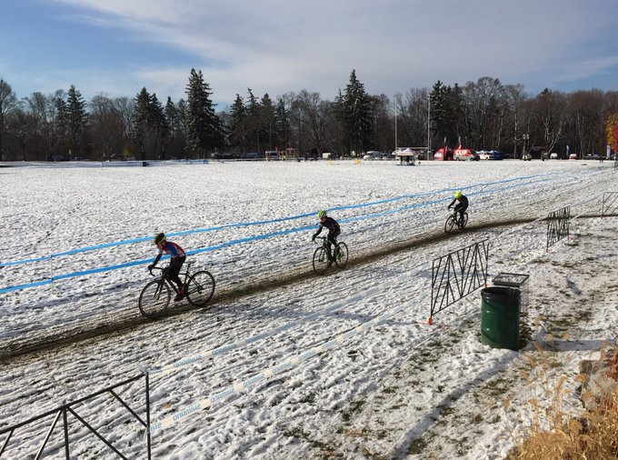 So yesterday's silly weather has moved on & it is a beautiful sunny day for #CanCXChamps @PtboCX Cold tho, so bundle up & come watch the fun Photo