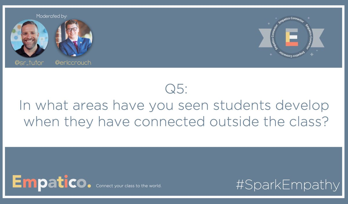 Q5: In what areas have you seen students develop when they have connected outside the class? #SparkEmpathy