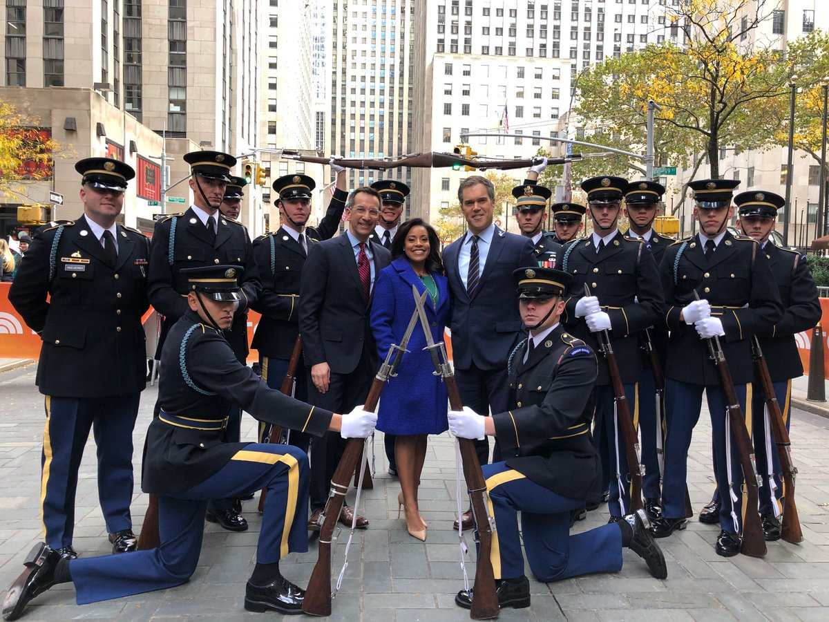 An honor to meet the US Army Drill Team @TODAYshow. This Veterans Day weekend, our sincerest thanks to all those who have served and those who serve today.