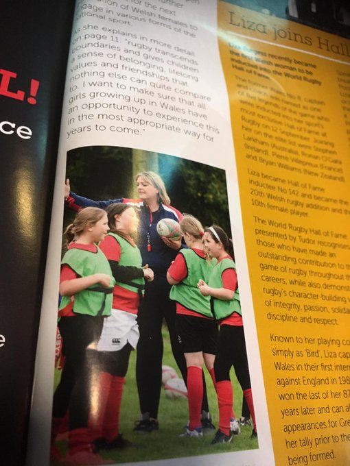 Our @StradeySospans coach and girls are in the #WALvAUS program! Absolutely overwhelming. Diolch @WelshRugbyUnion and staff #asone Photo
