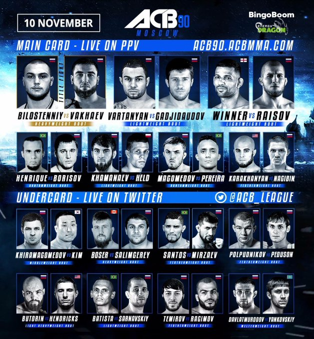 🔥 Only 3 fights left till the main card starts. Buy PPV at: #ACBMoscow Фото