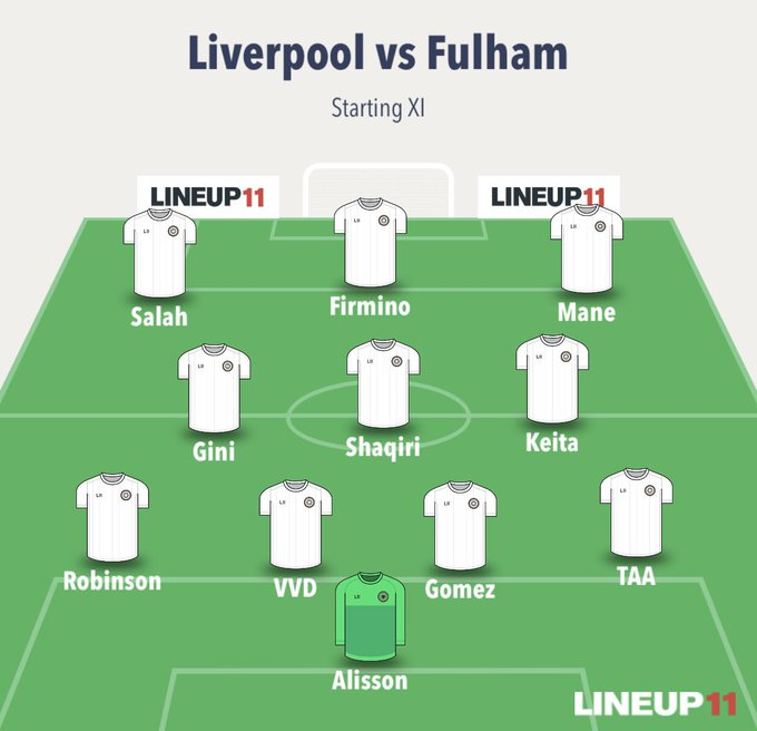 This is the starting XI, I want for the game against Fulham #Liverpool Thoughts? Photo