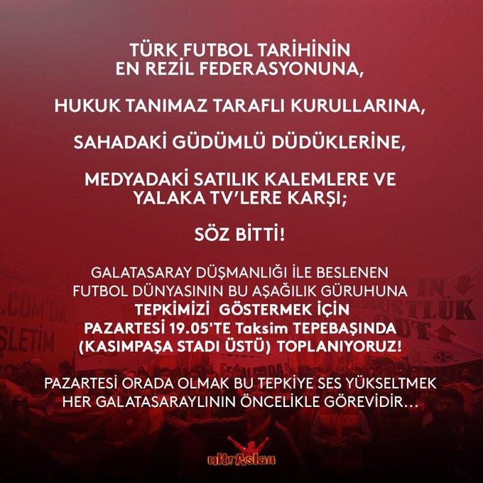 / 19:05 / Taksim Tepebaşı (Kasımpaşa Stadı Üstü) Pazartesi #GalatasaraylılarOmuzOmuza Fotoğraf