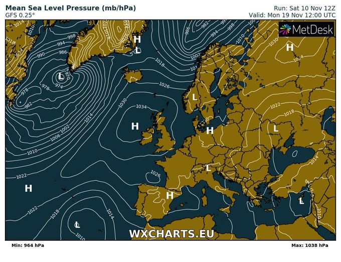 Consistent model signals for #pressure to be 1030hpa+ across most of UK in a week or so time Foto