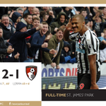 FULL-TIME: Newcastle United 2 AFC Bournemouth 1It's back-to-back wins for the Magpies at St. James' Park, courtesy of Salomón Rondón's first half brace! Reaction to follow at https://t.co/6wuhjKS0XX. #NUFC