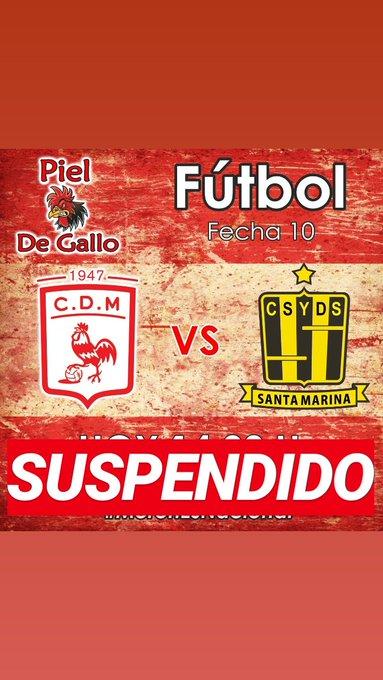 SUSPENDIDO! El partido entre Deportivo Morón y Santamarina de Tandil suspendido por las fuertes lluvias caídas en las últimas horas. Se podría jugar el próximo fin de semana. #PielDeGallo Foto