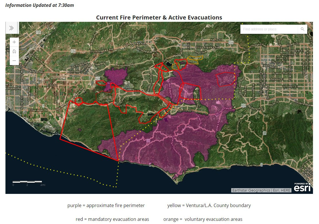 Current La Fire Map.Ktla On Twitter Map Current Fire Perimeter Active Evacuations