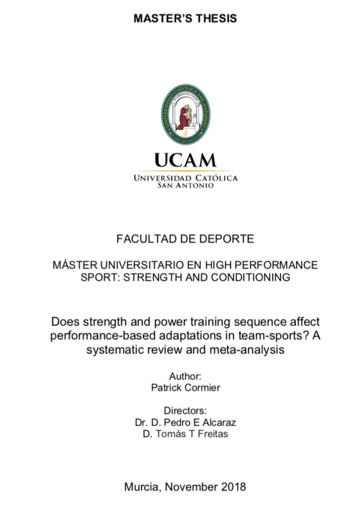 masters thesis in strength and conditioning