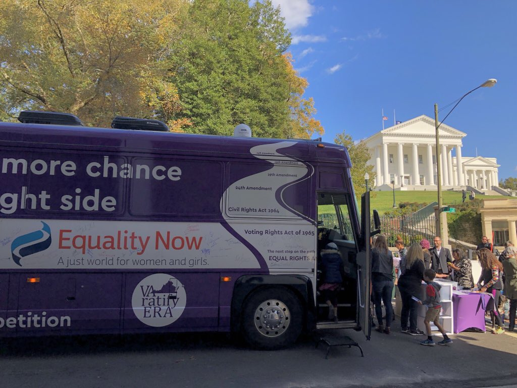 Telling Virginians about #ERA in front Virginia capitol with @VARatifyERA on day #2 of bus tour! #ERANow